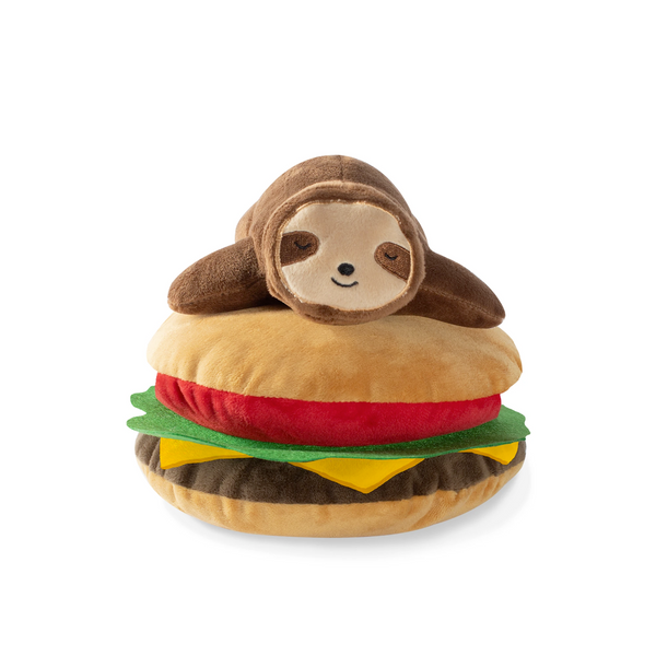Sloth on Hamburger, Dog Squeaky Plush toy