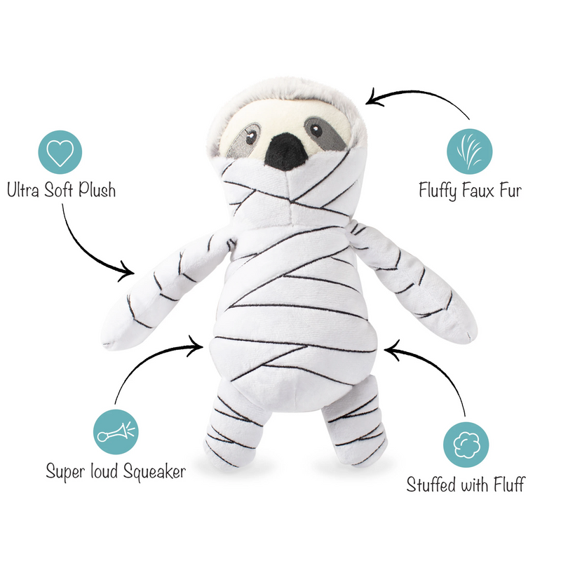 Slumber the Mummy Sloth, Dog Squeaky Plush toy