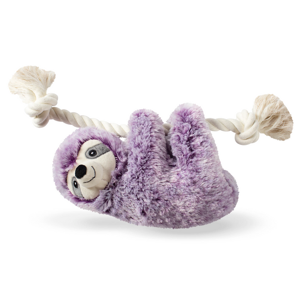 Lavender Lily the Violet Sloth, on a Rope Dog Squeaky Plush toy