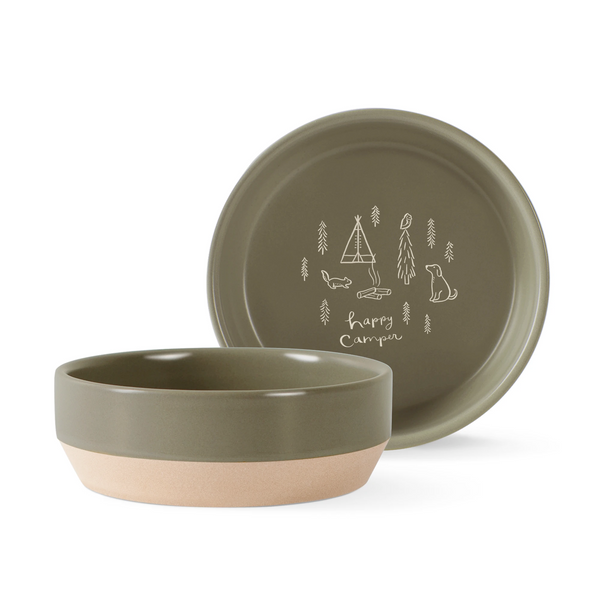 Happy Camper Stonewear Dog Food Water Bowl