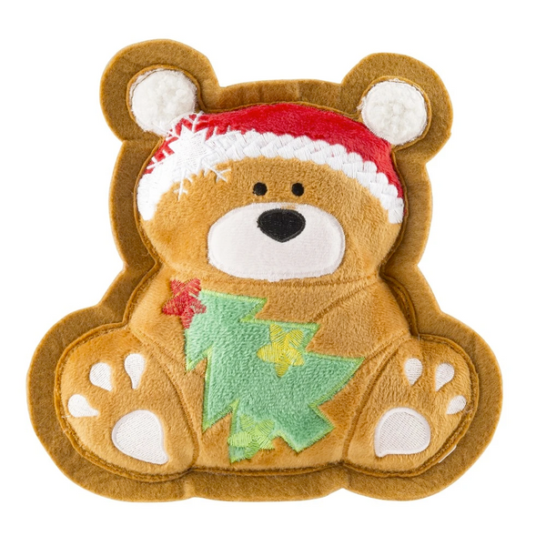 Bear Holiday Cookie, Squeaky Plush Dog Toy