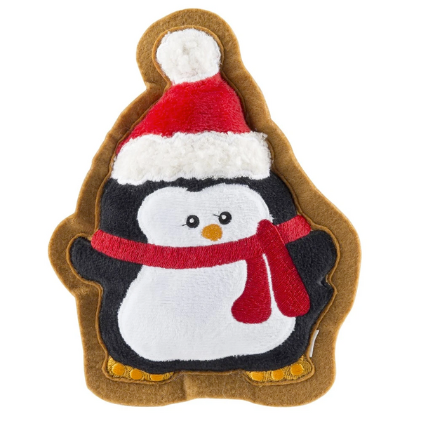 Penguin Holiday Cookie, Squeaky Plush Dog Toy