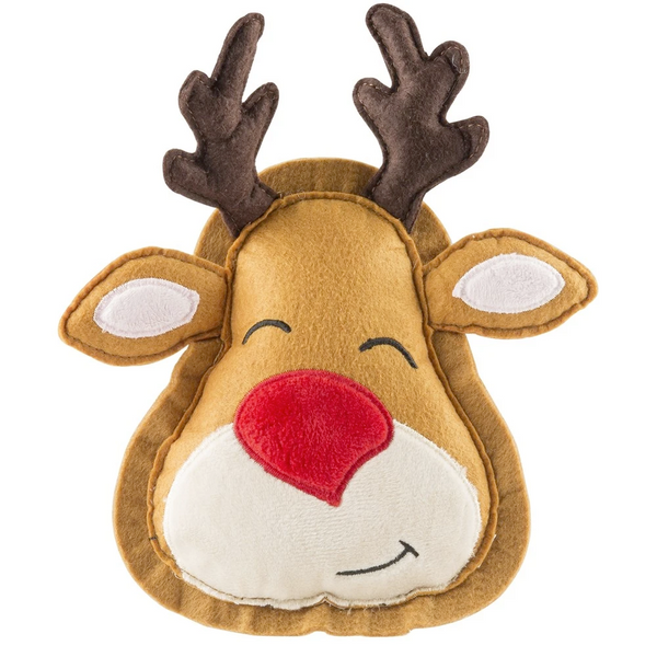 Reindeer Holiday Cookie, Squeaky Plush Dog Toy