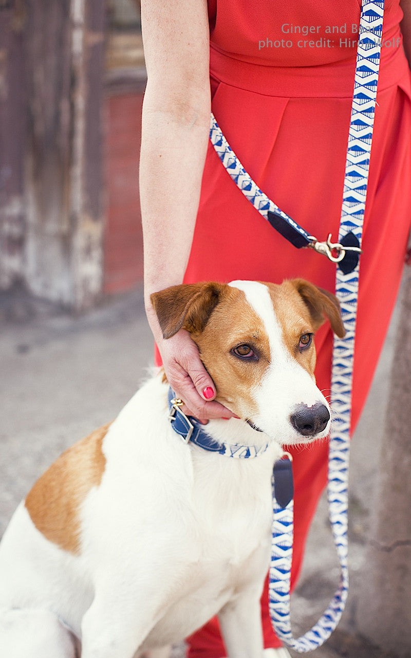 Hiro+Wolf Hands-free leash: Marine Stripe Kikoy