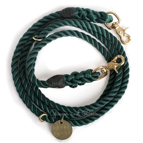 Adjustable Rope Leash, Hunter Green