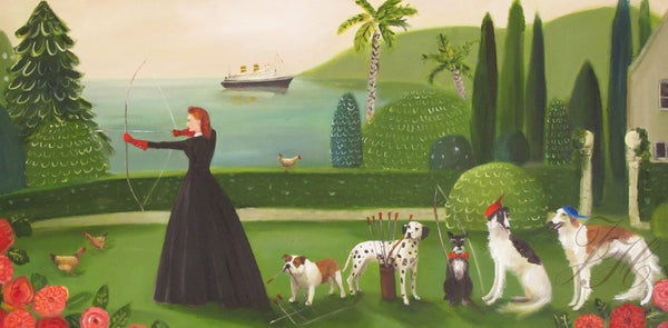 Art print, Miss Moon Was A Dog Governess. Lesson Five: Master Your Survival Skills Even When You Know You Will Likely Never Need Them.