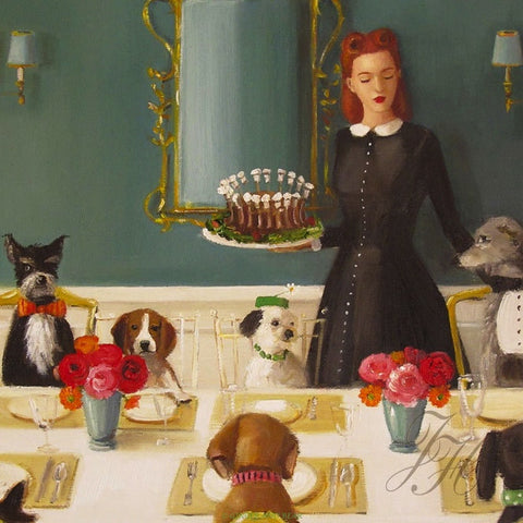 Art print, Miss Moon Was A Dog Governess. Lesson Four: A Well- Mannered Dog Is A Well- Bred Dog.