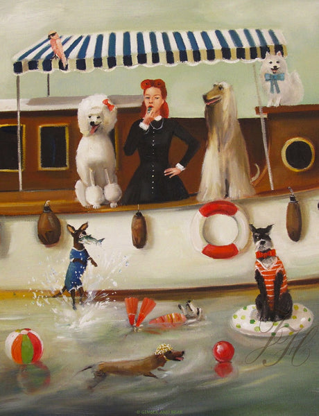 Art print, Miss Moon Was A Dog Governess. Lesson Nineteen: Be A Good Sport. Life Is More Fun When You Get Your Hair Wet.
