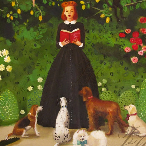 Art print, Miss Moon Was A Dog Governess. Lesson One: Be Kind To The Wildlife And They May Return The Favour One Day.