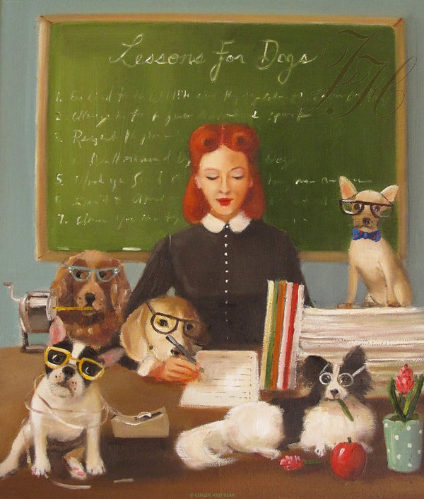 Art print, Miss Moon Was A Dog Governess. Lesson Seven: Whenever You Can, Try To Lend A Helping Hand.