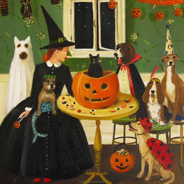 Art print, Miss Moon Was A Dog Governess. Lesson Ten: Sometimes Tricks Are Better Than Treats.