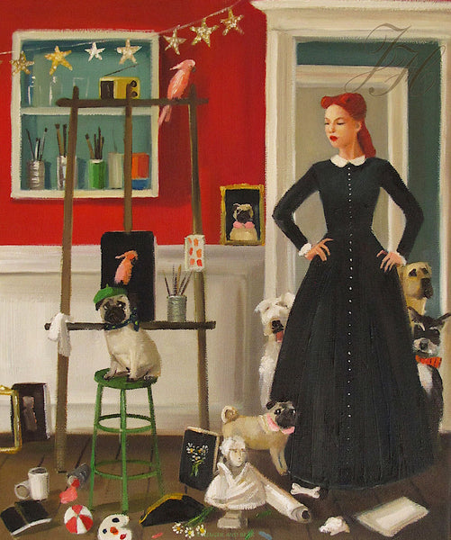 Art print, Miss Moon Was A Dog Governess. Lesson Eleven: A Tidy Space Is A Welcoming Place.