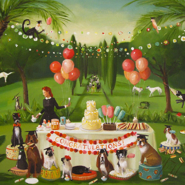 Art print, Miss Moon Was A Dog Governess. Lesson Twenty: Celebrate Your Accomplishments With Family And Good Friends.