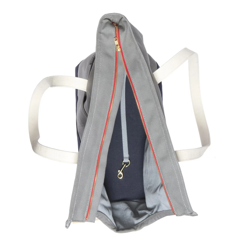 Love They Beast Canvas Pet Tote Grey Navy