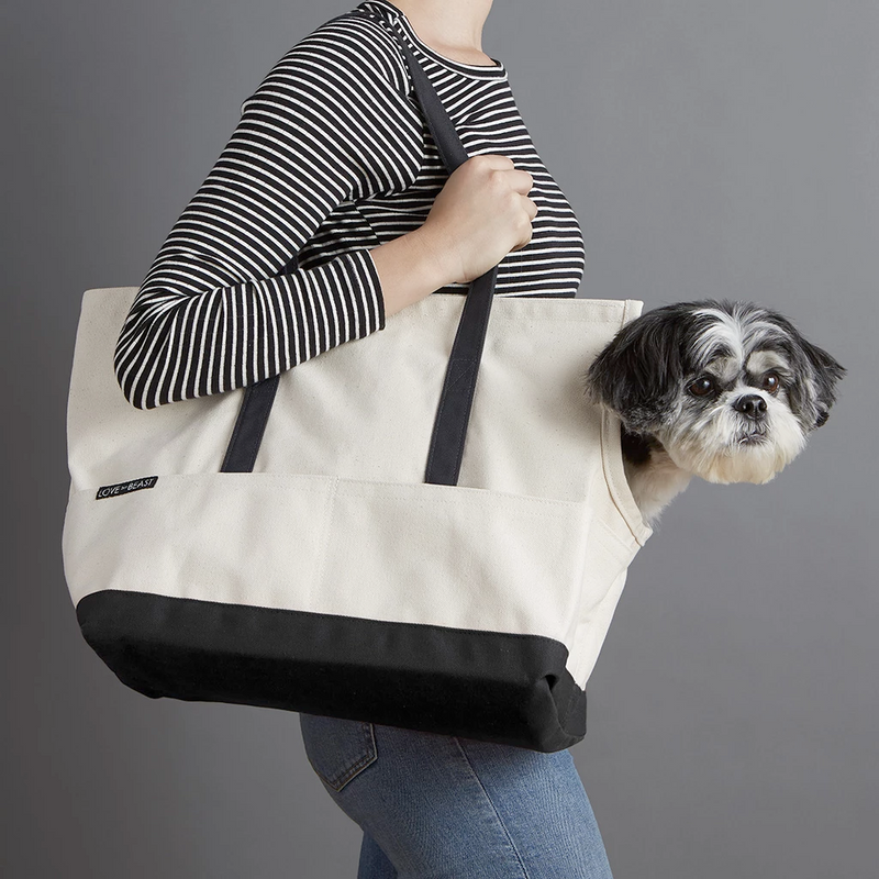Love They Beast Canvas Pet Tote Natural Black
