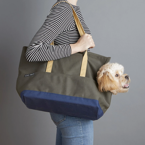 Love They Beast Canvas Pet Tote Olive Navy