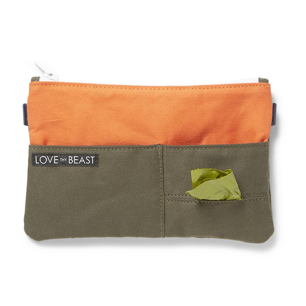 Love They Beast Canvas Pouch Cross Body Pet Tote Attachment Olive Orange