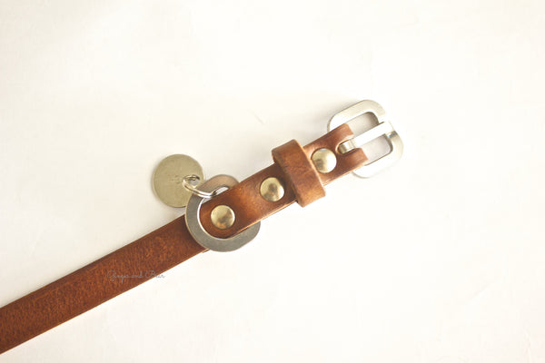 Dog Collar: Brown Leather