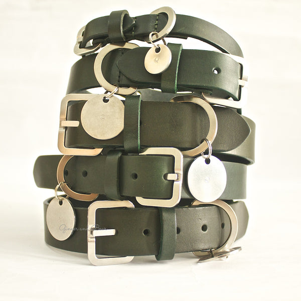 Dog Collar: Green Leather