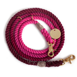 Adjustable Rope Leash, Solid Maroon Ombre