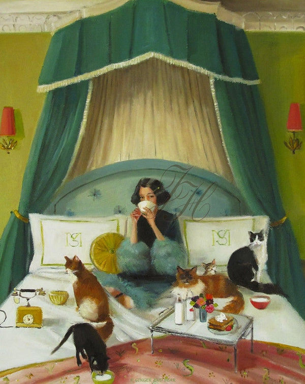 Art print, Mademoiselle Mink Breakfasts In Bed