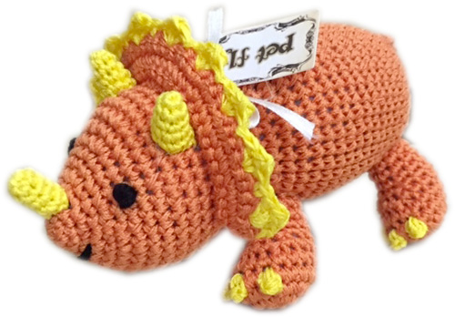 Organic Cotton Crocheted Dog toys, Bop the Triceratops
