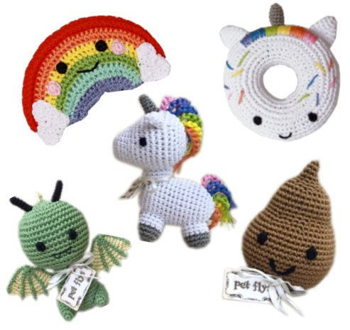Organic Cotton Crocheted Dog toys, Magical Creatures