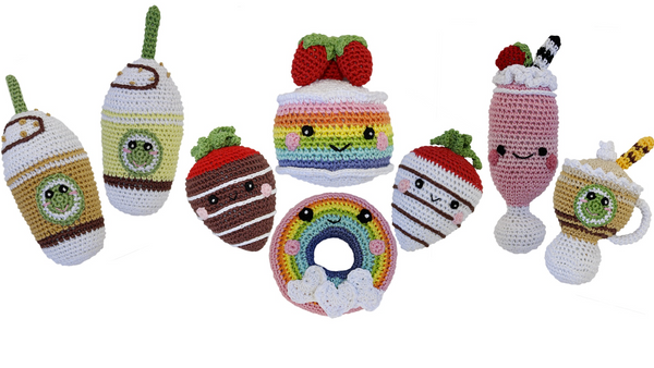 Organic Cotton Crocheted Dog toys, Sweet Tooth