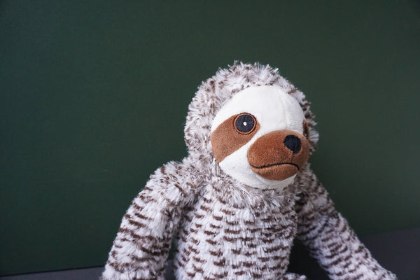 Seth the chocchip Sloth Squeaky Plush Dog Toy