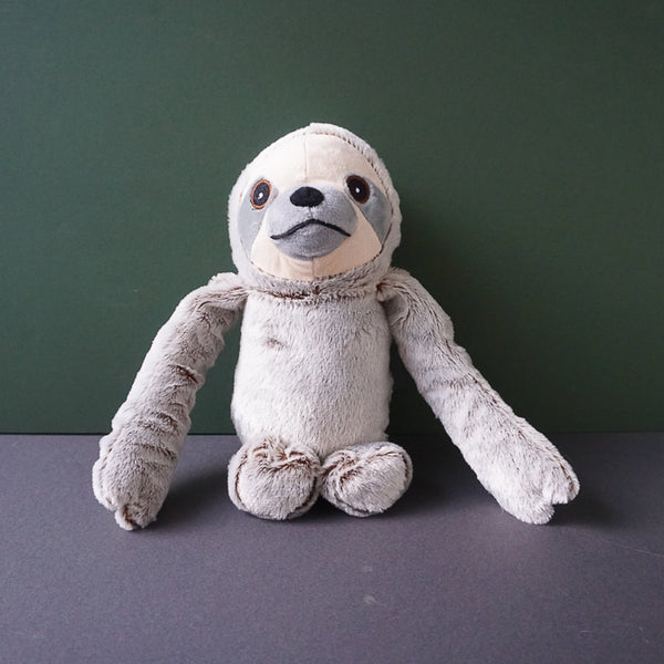 Sawyer the grey Sloth Squeaky Plush Dog Toy
