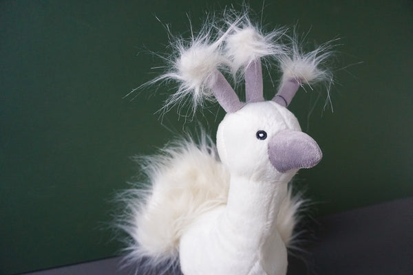 Presley the white Peacock Squeaky Plush Dog Toy