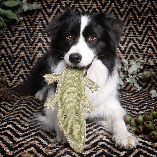 Outback Tails Corey the Croc Jute dog toy