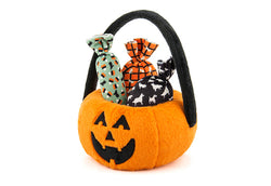 P.L.A.Y. Halloween Pumpkin Basket with Candies Plush Dog Toy