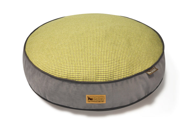 [Pre-order]Round Bed: Houndstooth Buttercup Yellow