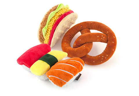 P.L.A.Y. International Classic squeaky crinkly dog toys Taco Sushi Pretzel