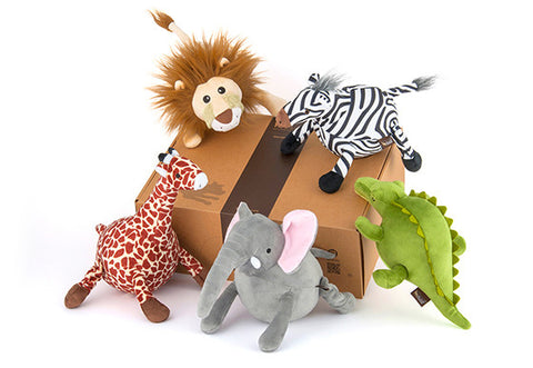 P.L.A.Y. Safari squeaky plush dog toys Lion Zebra Crocodile Elephant Giraffe