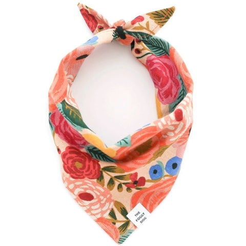 Dog and Cat Bandana: Painted Peonies Natural