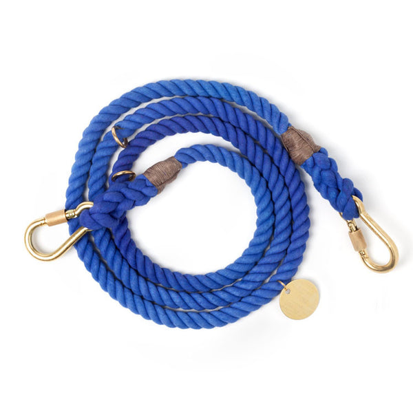 Adjustable Rope Leash, Periwinkle solid ombre