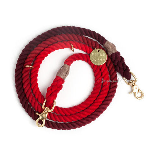 Adjustable Rope Leash, Solid Red Ombre