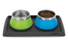 Ruffwear Basecamp Mat Twilight Grey with Basecamp bowls Blue Dusk Fern Green