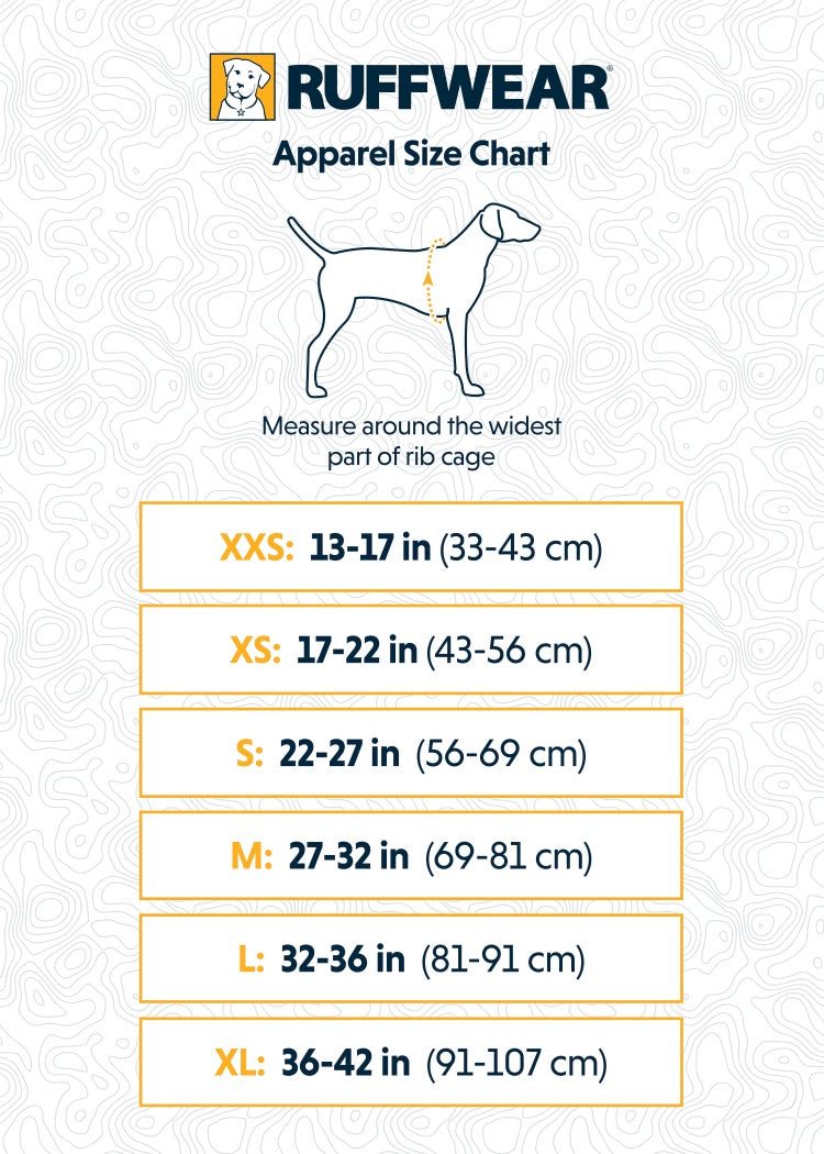 Ruffwear Rain Jacket Sun Shower Sizing guide
