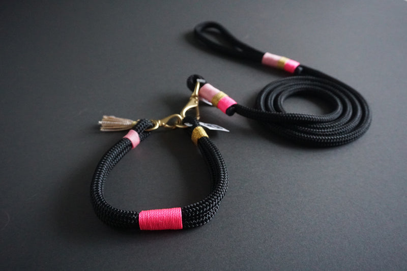 Rugged Wrist Dog Collar and Leash in French Presley Rope with tassel
