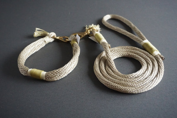 Rugged Wrist Dog Collar in Gold Olive Rope with Tassel