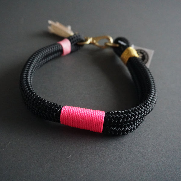 Rugged Wrist Dog Collar in French Presley Rope with tassel