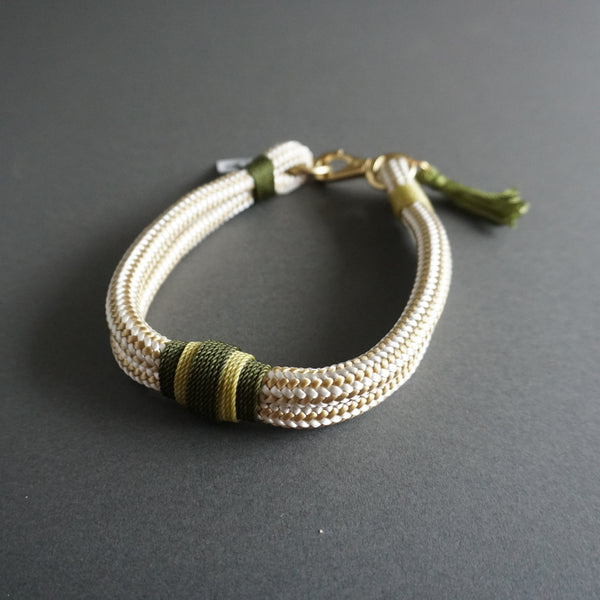 Rugged Wrist Dog Collar in Olive Green Rope with Tassle