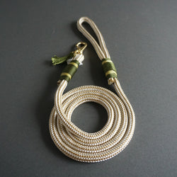 Rugged Wrist Dog Leash in Olive Green Rope with Tassle