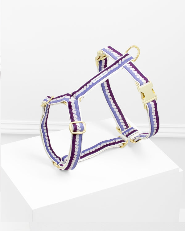 The Twist Deep Purple Dog Harness: Soft Beige and Blue