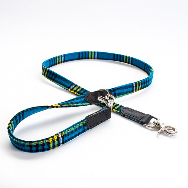 Hiro+Wolf Hands-free leash: Shuka Blue Check