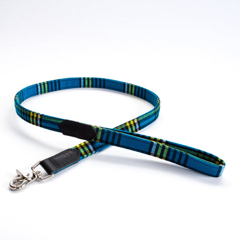 Hiro+Wolf Classic leash: Shuka Blue Check