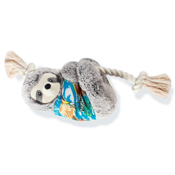 Slowin' Down for Summer Sloth on a Rope Dog Squeaky Plush toy